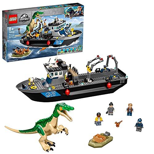 LEGO 76942 Jurassic World Fuga del Barco del Dinosaurio Baryonyx, Juguete con Barco y Lancha para Niños y Niñas +8 años