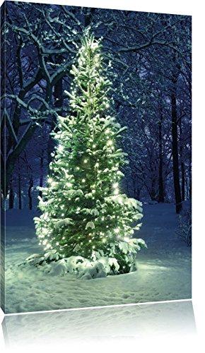 Leuchtender Weihnachtsbaum, Format: 80x60 auf Leinwand, XXL riesige Bilder fertig gerahmt mit Keilrahmen, Kunstdruck auf Wandbild mit Rahmen, günstiger als Gemälde oder Ölbild, kein Poster oder Plakat