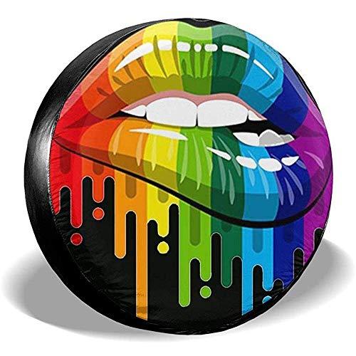 yyndw Wheel Tire Cover LGBT Motss Gay Pride The Gay Team Accesorios Cubierta del Neumático De Repuesto Cubierta del Neumático Impresión Impermeable A Prueba De Polvo 70~75cm