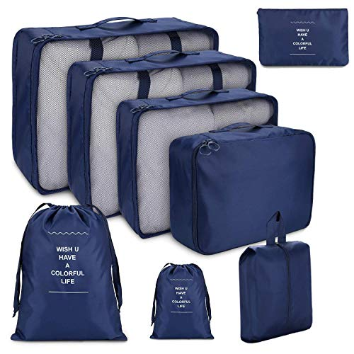 8 PCS Organizadores de Viaje para Maletas, Bolsas de Equipaje Impermeable Cubos Embalaje de Viaje Bolsas de Almacenamiento para Ropa Zapatos, Cosméticos Accesorios (Azul oscuro)