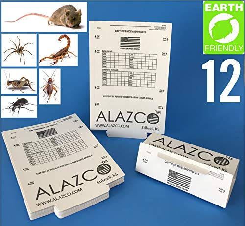 ALAZCO 12 Glue Traps - Excellent Quality Glue Boards Mouse Trap Bugs Insects Spiders, Brown Recluse,...