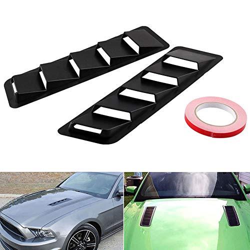 CVERY 1 Paar Autohauben-Lüftungsschlitze, Lufteinlassschaufel, Motorhaube, universelles ABS-Kunststoff, mattes schwarzes Kühlpaneel (1 Paar).