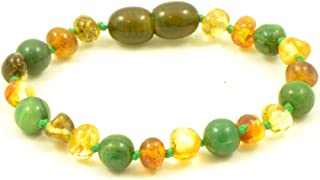 Amber Teething Bracelet/Anklet - Various Sizes - Unisex - Hand-Made from Baltic Amber and African Jade Beads (Green Amber/African Jade, 6.3in (16cm))