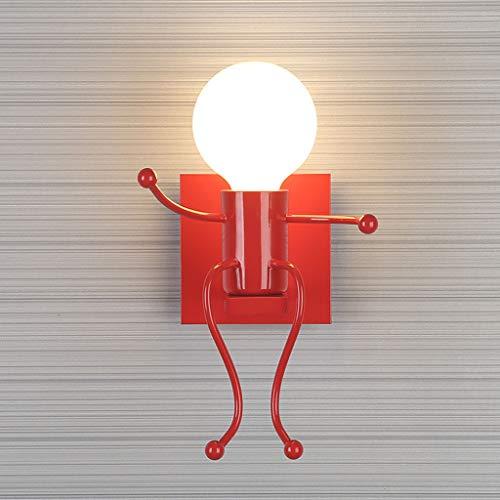 LIN HE SHOP Applique Murale individuelle d'artiste en Fer, Lampe de Chevet de Salon Simple, Lampe d'escalier de Couloir, 14 × 24CM (Couleur : Rouge)
