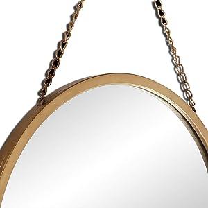 LIHY Miroir de Maquillage- Iron Craft Mirror - Miroir Mural avec chaîne et décoration Murale