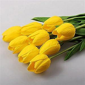 Sukisuki – Ramo de tulipanes artificiales (10 unidades, piel sintética), diseño de tulipán, Amarillo, talla única