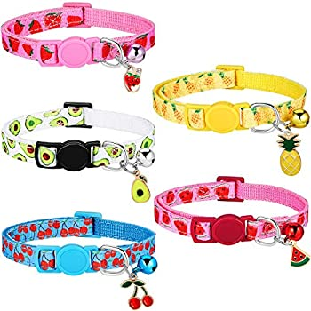 5 Pieces Breakaway Cat Collars with Bell Colorful Summer Fruit Style Adjustable Pet Collar with Pineapple Watermelon Cherry Strawberry Avocado Patterns for Kitten Kitty Cat Tropical Hawaii Party  S