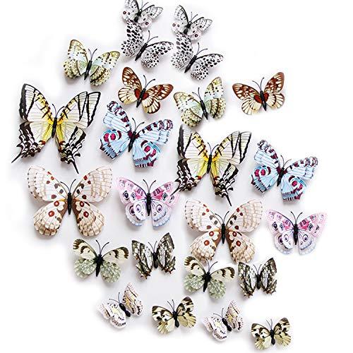 ViViKaya 3D farfalla adesivi, 24 pezzi farfalla decalcomanie della parete decorazioni adesive, fai da te-Art Decor farfalla, per la casa fai da te, cameretta, festa (bianco)