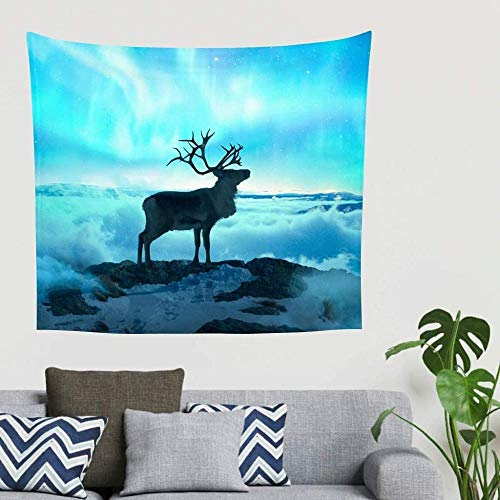 Yhjdcc Hippie Fantasie Ren Mist Berg Blau Aurora Beleuchtete Grafik Wandbehang Wandteppich Komplexer Wandteppich Wanddekor Tischdecke Kopfteil Hintergrund Stoff 150cm x...