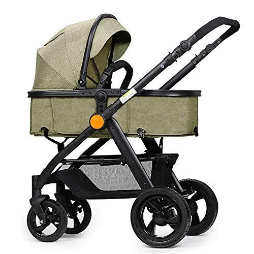FAFY 2 in 1 Passeggino Culla E Seggiolone Bebè da Viaggio da Viaggio Buggy Antiurto Pieghevole per Neonato 0-3 Anni,Green(B)