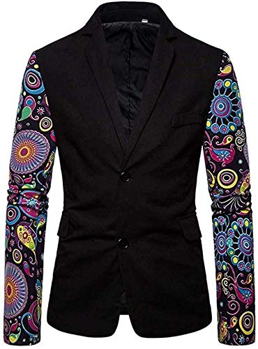 MOORRLII Men's Casual Blazer Black with Floral Sleeves Single Breasted Two Button