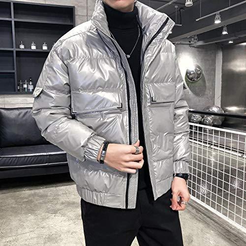 Winter New Herren Winter Warme Jacke Hochwertige Daunenjacke Männliche Kurze Kleidung Kurze Kleidung Wunderschöne Glänzende Daunenjacke XXL Silber