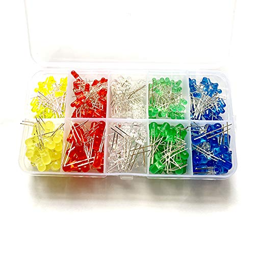 【250個入り】 LEDダイオード 発光ダイオード 透明LEDセット 円型頭部 白/赤/緑/青/黄 10種類 5色 3mm 5mm 10種類
