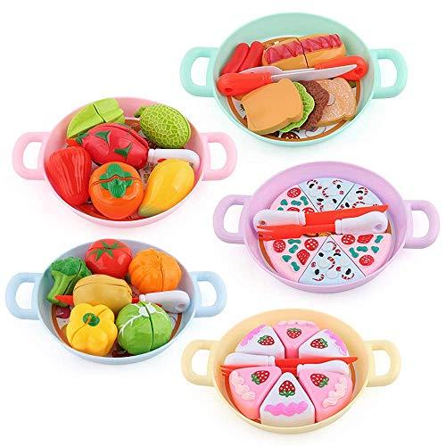 Spielzeug Kinder Küche Spielzeug geschnitten Obst Küche geschnitten Obst Spielzeug mehrteiliges Set Kochutensilien und gesundes Schneiden Spielen Essen Set Geschenke Lernwerkzeug für Kinder Mädchen J