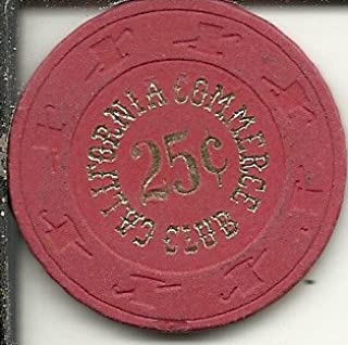 $.25 california commerce club casino chip obsolete red