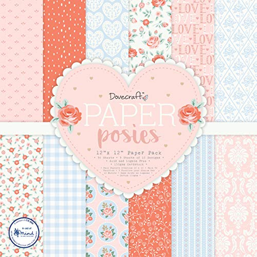 Dovecraft DCPAP157 Posies x12 Pack – 36 3 Sheets of 12 Designs – 150gsm FSC Paper – Acid & Lignin Free – for Card Making, Papercraft, Journaling, Scrapbooking And More, Multicolour, One Size