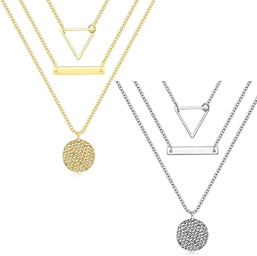 2021 2PCS Layered Necklaces for Women ,Handmade 14K Gold Plated Y Pendant Necklace Multilayer Bar outlet online sale Disc Necklace Adjustable Layering Choker Necklaces outlet sale for Women (Gold,Silver) outlet sale