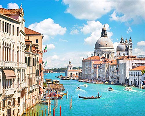 YEESAM ART Paint by Numbers for Adults Kids, Sea City of Venice, Italy 16x20 Inch Linen Canvas Acrylic DIY Number Painting Kits Wall Art Decor Gifts (Without Frame)
