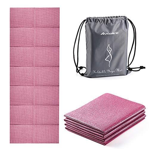 Avoalre Yogamatte rutschfest, 173 x 61CM faltbare Yogamatte mit Tasche, Tragbare 5MM Pilatesmatte / Gymnastikmatte / Trainingsmatte / reise Yogamatte ideale für Frau Kinder und Männer - Pink