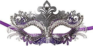 1 Pcs Masquerade Mask Laser Cut Metal Shiny Rhinestone Party Mask