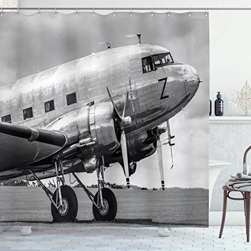 ABAKUHAUS Weinlese-Flugzeug Duschvorhang, Old Airliner, aus Stoff inkl.12 Haken Digitaldruck Farbfest Langhaltig Bakterie Resistent, 175 x 200 cm, Grau Schwarz