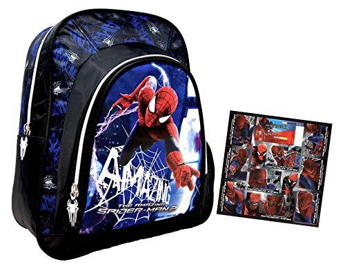 Spider-Man - The Amazing Spider-Man 2 - Kindergarten-Rucksack/Kindergartentasche - für die Brotdose/Trinkflasche/Vorschul-Rucksack + 12 Aufkleber