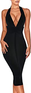 Women's Backless Halter V Plunge Celebrity Night Club Party Bandage Bodycon Midi Dress