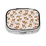 Dog Cartoon Corgis Pattern Cute Animal Line Puppy Square Pill Box Decorative Boxes Pill Case Medicine Tablet Holder Wallet Organizer Case for Pocket Or Purse