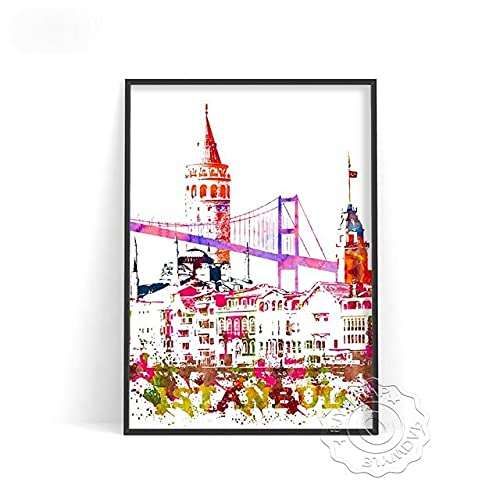 linbindeshoop Color World City Poster York Paris Moscow Wall Art Dubai Roma Wall Stickers San Francisco Rio De Janeiro Travel Poster(LT-386) 50x70cm No frame