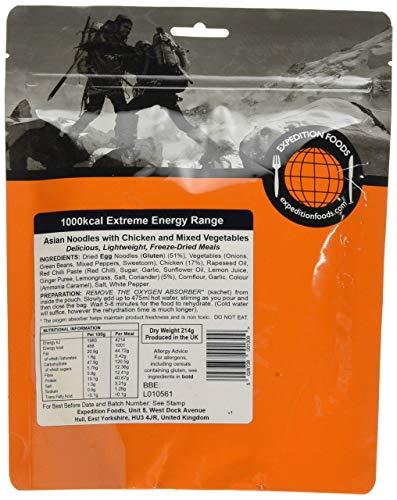 Expedition Foods Asian Asiatische Nudeln mit Huhn und gemischtem Gemüse (450 kcal) – gefriergetrocknete Mahlzeit, Orange, 450kcal