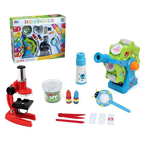Fstop Labs CloverTale Kids Explorer Kit, Binoculars, Outdoor Exploration Flashlight, Compass, Whistle, Magnifying Glass, Butterfly Net, Tweezer, Insect Viewer Cup, Backpack for Kids (Microscope)