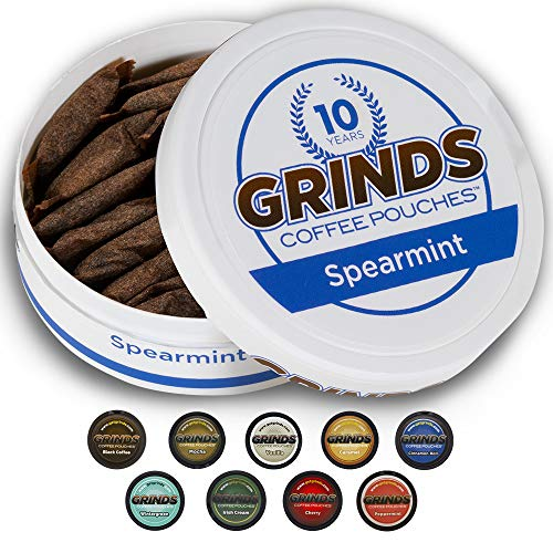 Grinds Coffee Pouches   6 Cans of Spearmint   Tobacco Free, Nicotine Free Healthy Alternative   18 Pouches Per Can   1 Pouch eq. 1/4 Cup of Coffee (Spearmint)