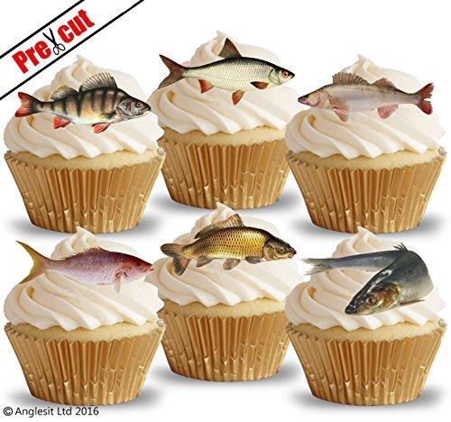 Tortenaufleger, Fisch-Motiv, vorgeschnitten, essbar, aus Reispapier/Esspapier, für Cupcakes oder Kuchen