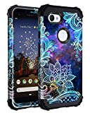 Casetego Compatible with Google Pixel 3a Case,Floral Three Layer Heavy Duty Hybrid Sturdy Shockproof Full Body Protective Cover Case for Google Pixel 3a,Blue Mandala