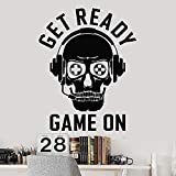 fancjj Skull Gamer Wall Decal Player Auriculares Sala de Juegos Zona de Juegos...