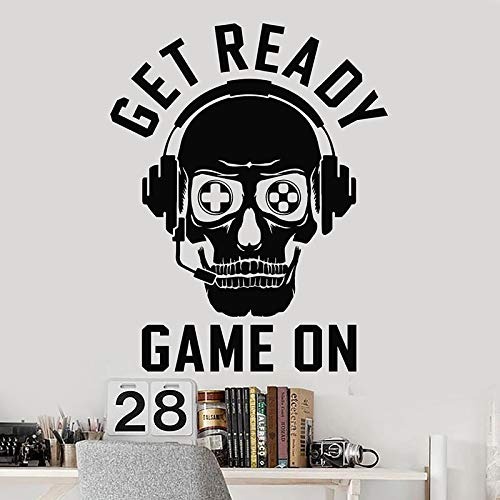Skull Player Wall Decals Player Headset Play Room Play Area Kid boy Bedroom Home Decoration Window Plaster Sticker Art Mural