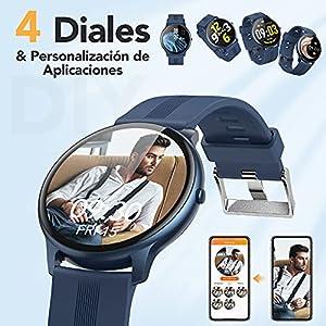 AGPTEK Smartwatch, LW11 Reloj Inteligente 1.3 Pulgadas Táctil Completa IP68, Pulsera de Actividad Deportivo Pulsómetro Monitor de Sueño, Control de Musica para Hombre Mujer Adolescentes, Azul