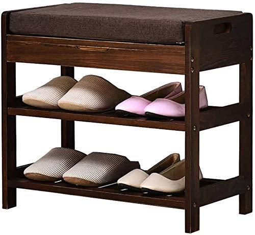 CXVBVNGHDF Zapateros Zapatero Pasillo Zapatos de Color Retro Taburete Zapato Simple para el hogar Taburete de Almacenamiento de Madera Maciza Moderno Simple Estantes para Zapatos (Tamaño: 54 cm)