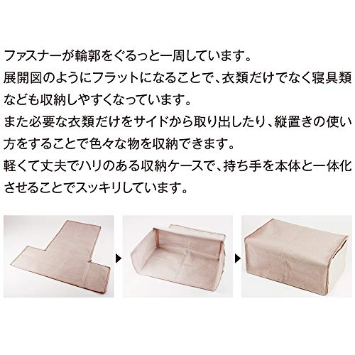 アルファックス生成り幅60×奥行40×高さ25cm収納ケースFlat竹炭シート付き622116