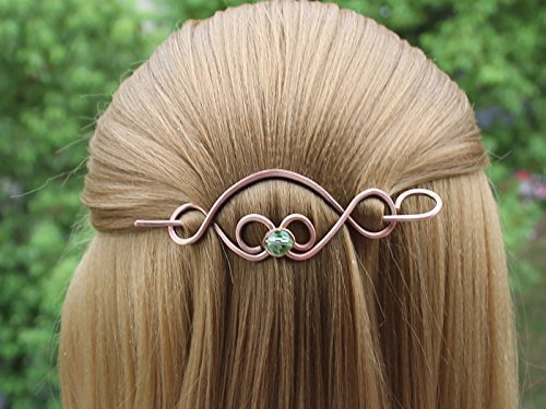 Celtic Hair Clip with Stick, Medium Barrette in Copper Metal Viking Hair Jewelry Handmade Ponytail Thick Shawl Pin