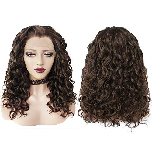 Ebingoo Fashion Brown Lace Front Wig Hair Cap+ Light Brown Lace Front Wig Synthetic Hair Short Curly Bob Wigs Glueless Natural Hairline For Women for darily wear for cosplay