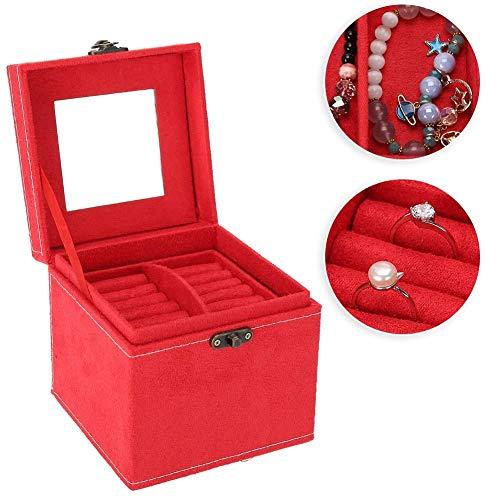 TMISHION Caja de joyería de 3 Capas, Cuero de Almacenamiento con Tapa de Regalo para el día de la Madre, Espejo y manija y Cierre en Bronce, Boda y Aniversario