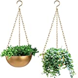 Sinolodo Gold Hanging Planters Indoor, Set of 2 Metal Plant Hangers with Drainage Holes and Plugs, Boho Decor Geometric Pots for Home, Bedroom, Bathroom, Living Room, Kitchen, etc.