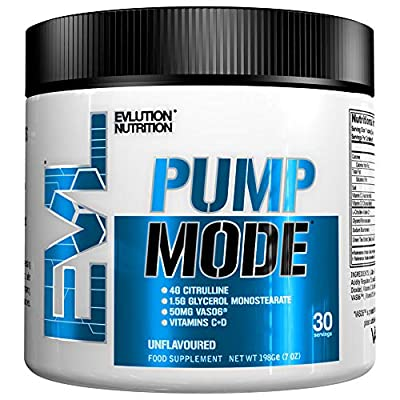Evlution Nutrition Pump Mode Nitric Oxide Booster to Support Intense Pumps, Performance and Vascularity, 30 Servings (Blue Raz) by Evlution