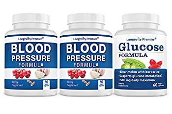 Bonus Pack  Longevity Blood Pressure Formula 90 caps x 2 Bottles with 1 Bonus Bottle of Glucose Formula [60 caps]