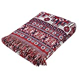 Manta de tiro de sofá Zerone, alfombra de manta de sofá de algodón de doble cara con borlas decorativas para sofá cama(#2)