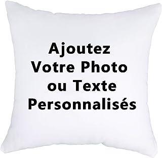 Luxbon Housse de Coussin 45x45 cm Double-Face Personnalisé Photo et Texte Taie d'oreiller Decor DIY Anniversaire Noël Sain...