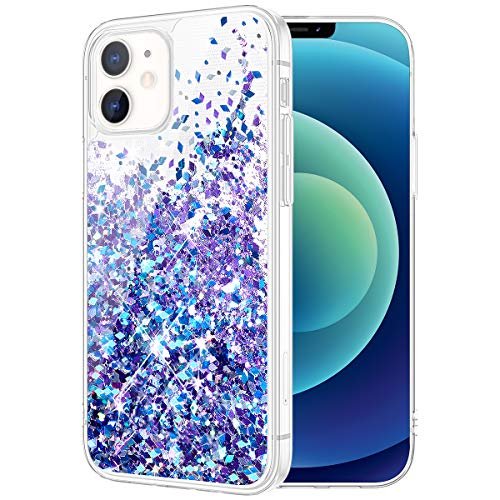 Caka Case for iPhone 12 Glitter Case, iPhone 12 Pro Glitter Case Girly Girls Women Bling Liquid Sparkle Fashion Flowing Quicksand Case for iPhone 12 12 Pro (6.1 inches) (Blue Purple)
