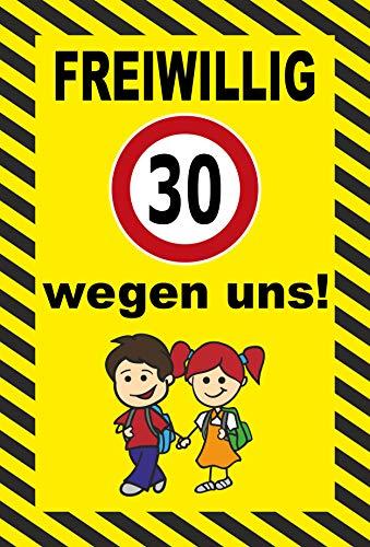 Schild 60x40cm Spielende Kinder - Freiwillig 30 km/h - 3mm Aluverbund - 20 Varianten