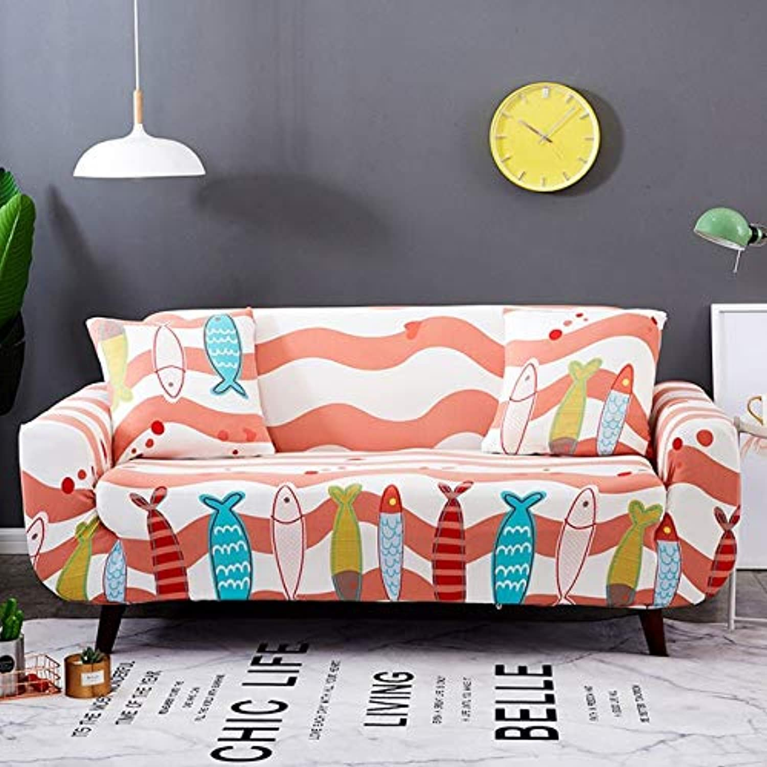 Farmerly Floral Printing Elastic Sofa Cover Tight Wrap All-Inclusive Slip-Resistant Furniture Slipcover Soft Sofa Towel 1 2 3 4-seater   color 13, Single-Seater